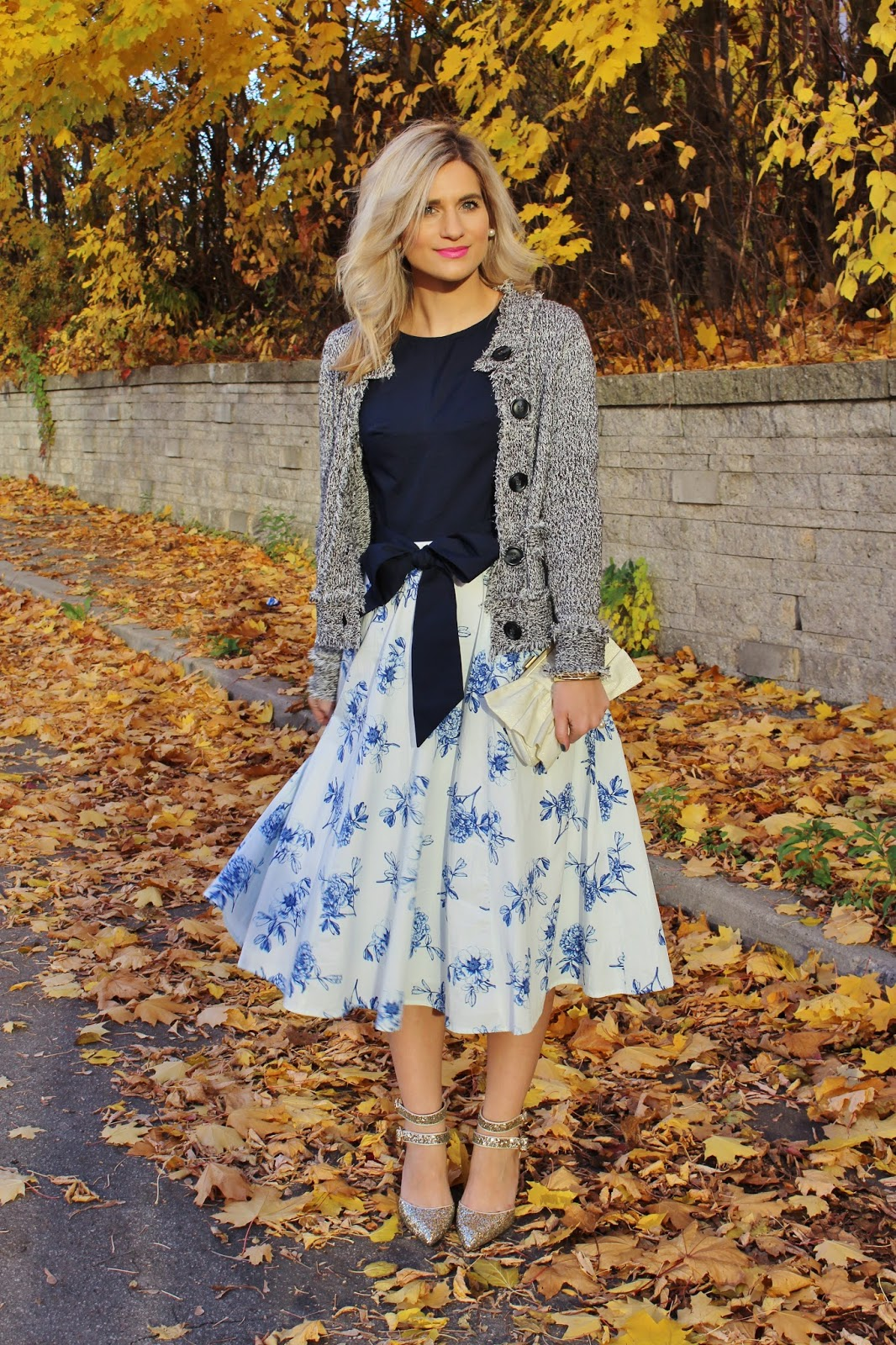 Bijuleni - eShakti floral blue dress with sparkly Topshop heels