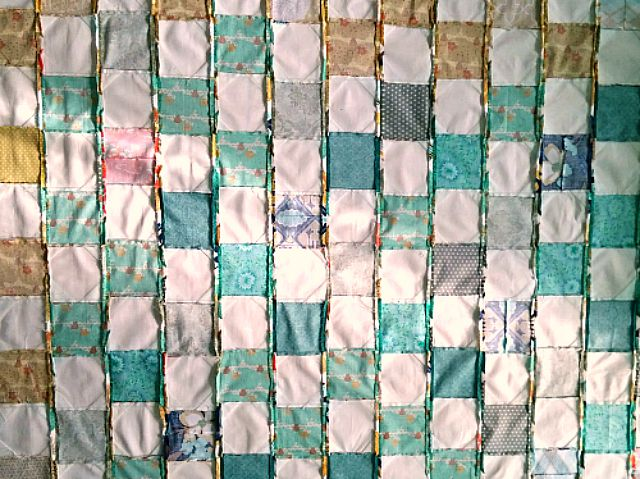 Late in Summer modern Snowball block quilt Puppilalla Design green blue