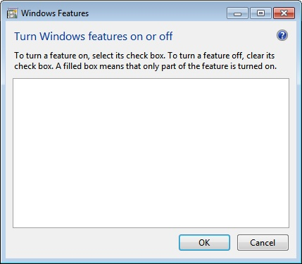 Turn Windows features on or off is empty/blank in Windows 7/Vista