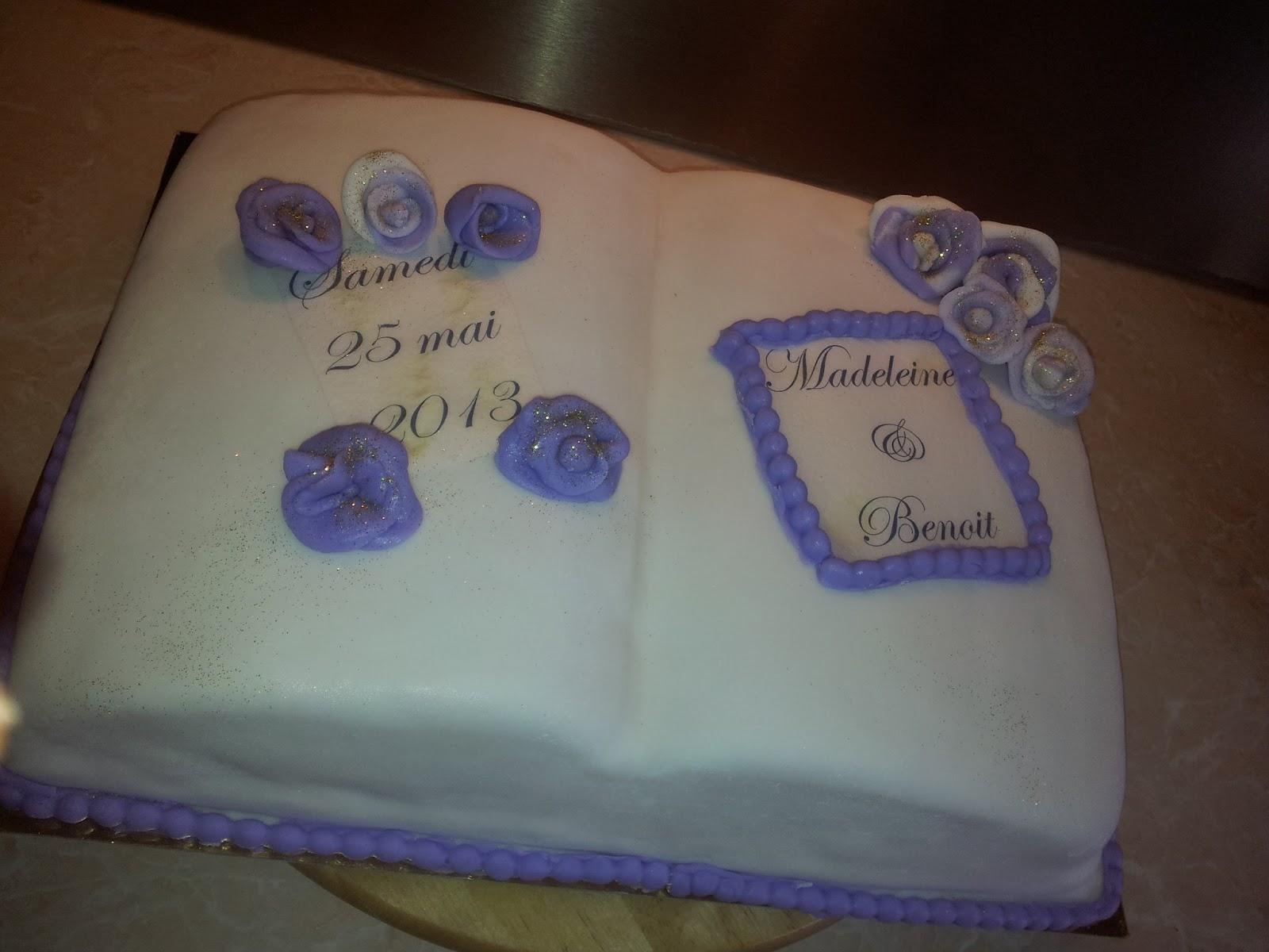 Souvent La Pâtisserie de Brunette: Gâteau mariage Livre ouvert blanc-violet FZ12