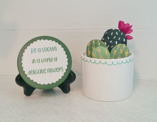 recycled candle jar to adorable faux cactus planter