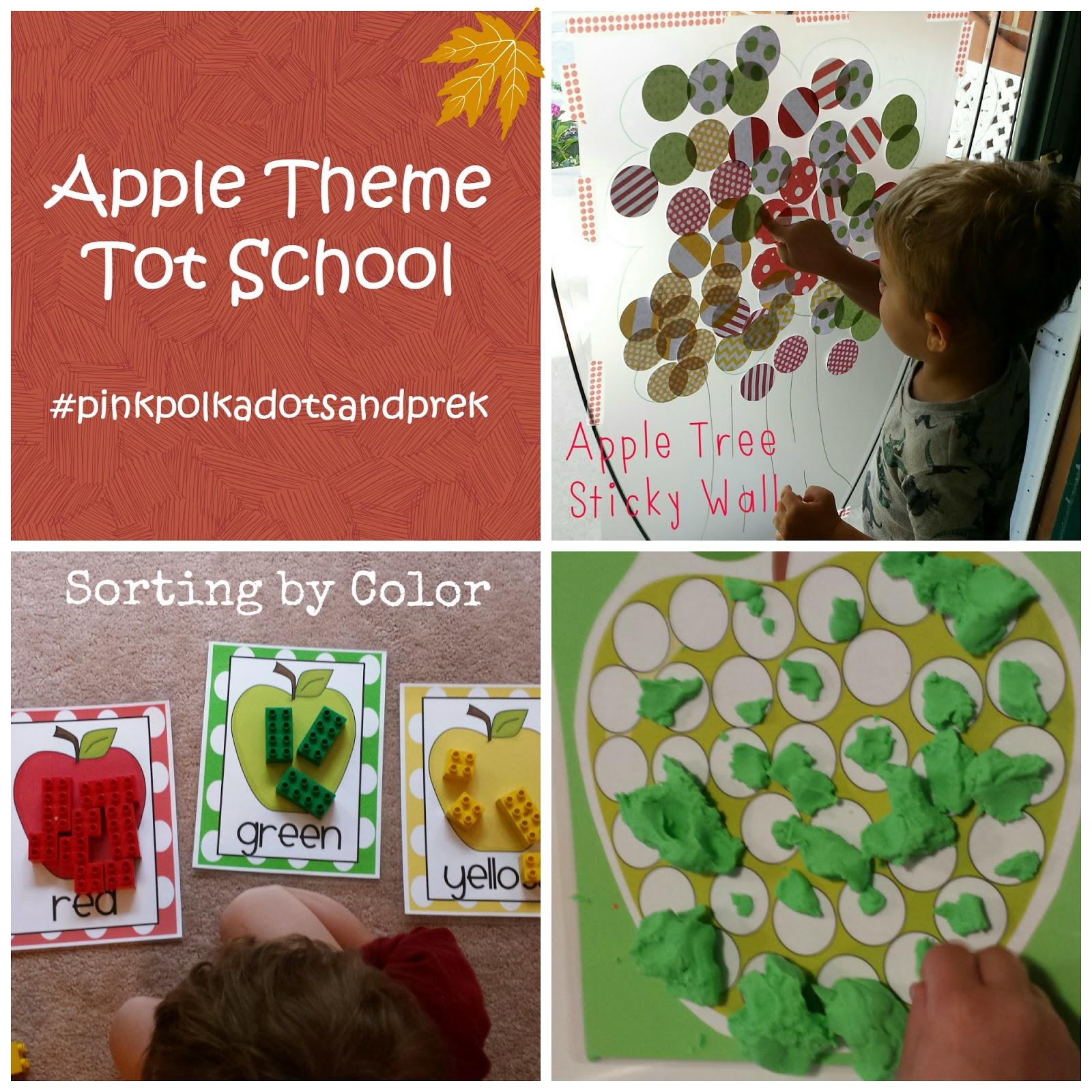 Pink Polka Dots And Pre K Apple Theme September Tot School Activities