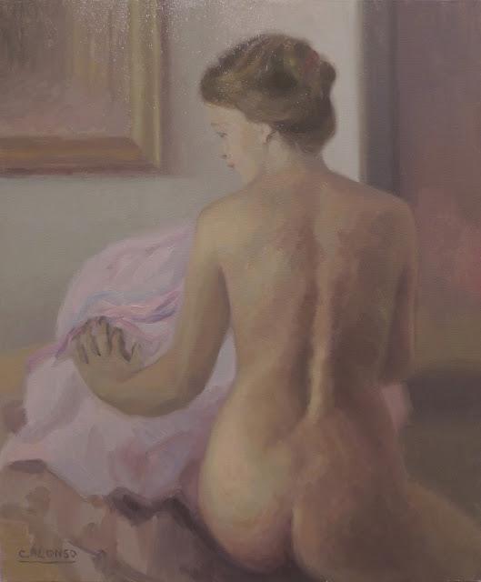 Cristina Alonso mujer desnuda pintura impresionista