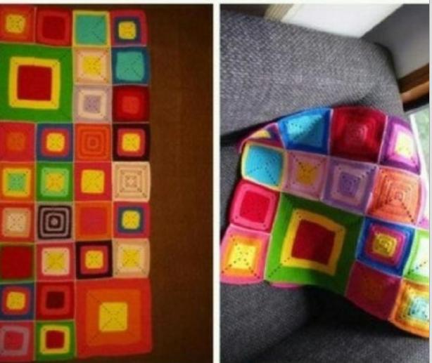 Patron Crochet Manta Cuadrados