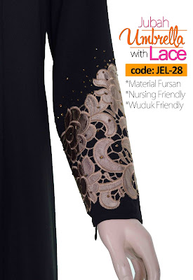 Jubah Umbrella Lace JEL-28 Black Tangan 2