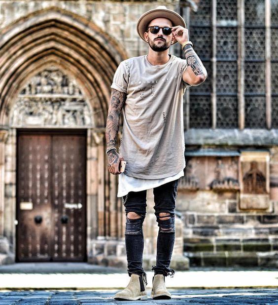 Look Masculino com Camiseta Longline Barra Assimétrica