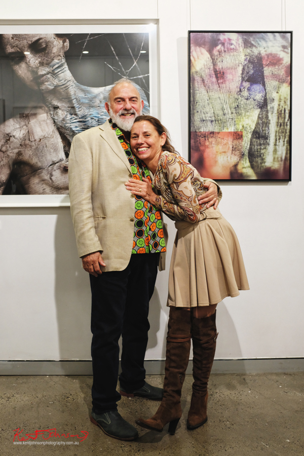 A colourful couple at‎ BLENDEDnudes at M2 Gallery Photo by Kent Johnson for Street Fashion Sydney.