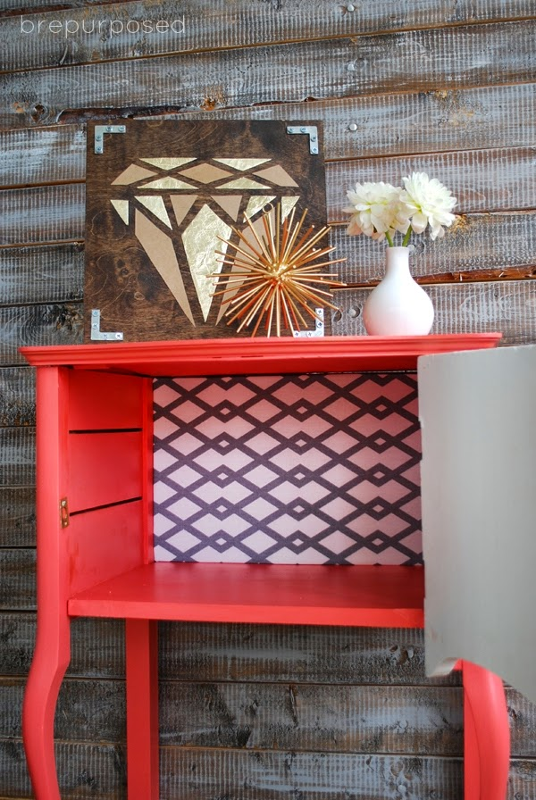 10 COLORFUL Before and After Features : Coral & White SideTable