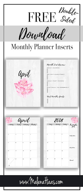 Free monthly Insert Download of Month On Two Pages http://www.malenahaas.com/2018/03/freebie-friday-april-month-on-two-pages.html