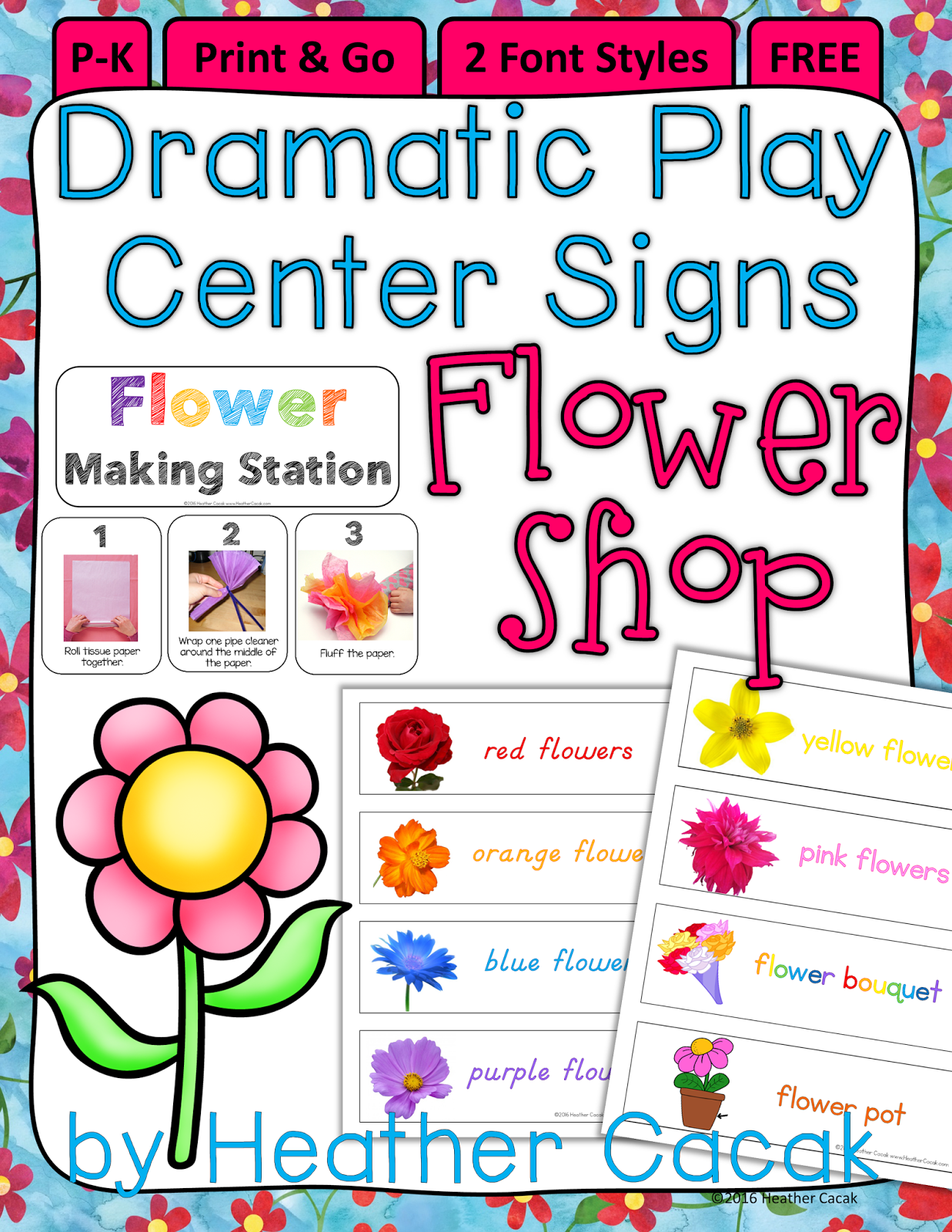 Spring Dramatic Play Flower Shop Freebie
