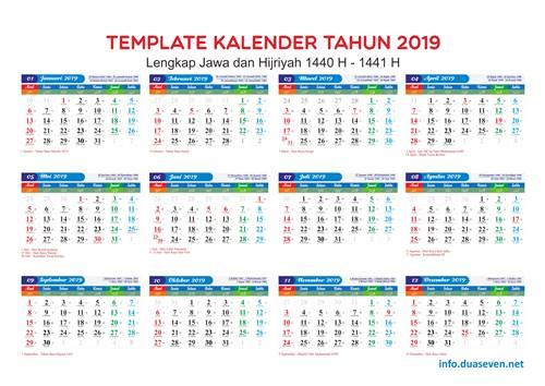 Download Kalender 2019 PDF, PNG, CDR Hijriah, Jawa Lengkap