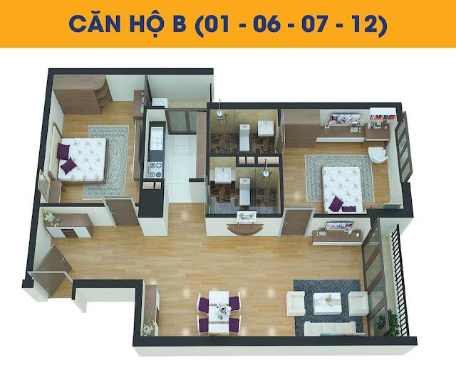 Thiết kế căn 2 phòng ngủ tòa C1