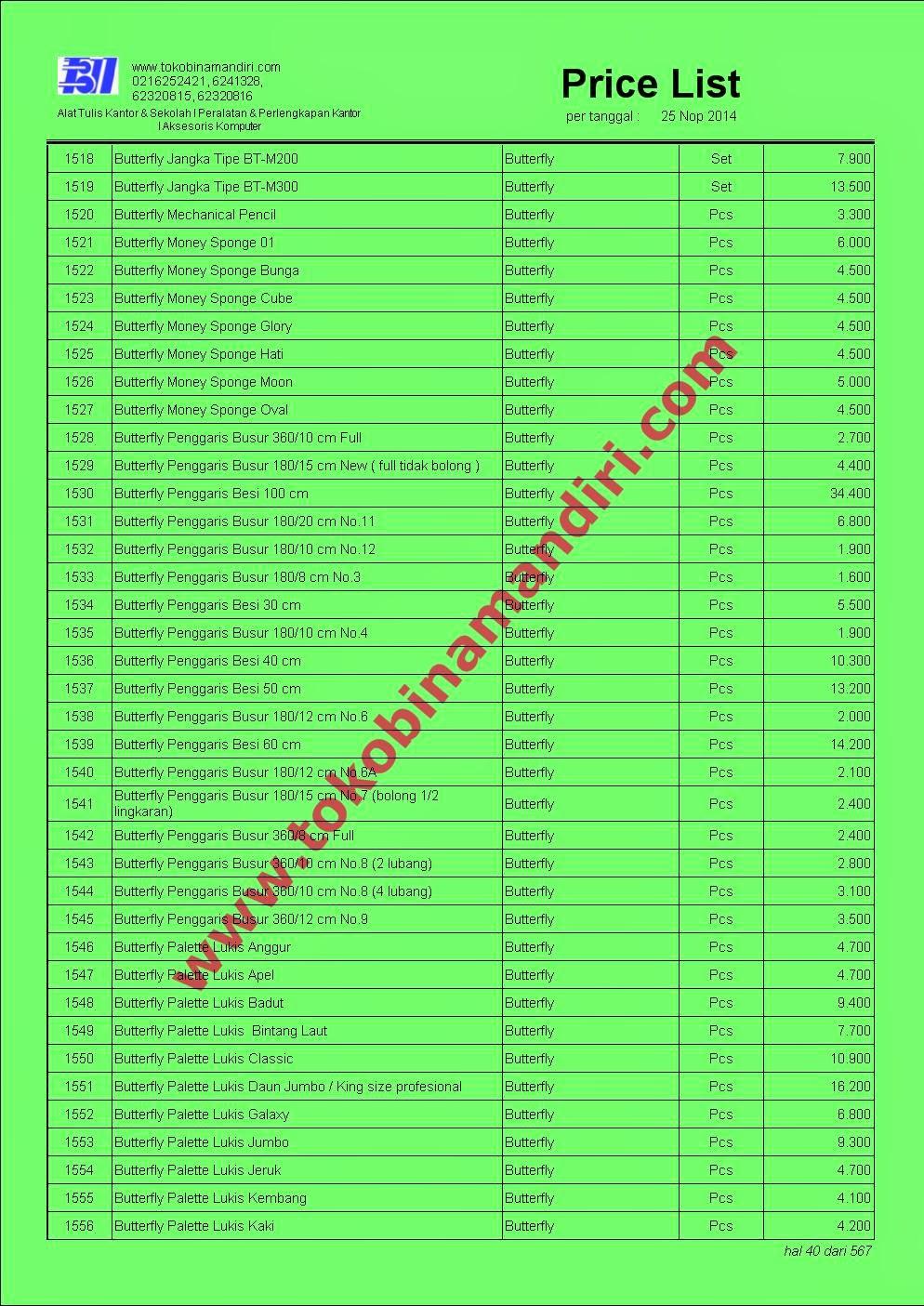 Daftar Harga Alat Tulis ATK040 - Palet Lukis Butterfly