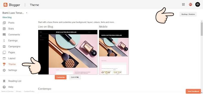 Cara Senang Masukkan Semula Back Up Kod HTML Blog Selepas Simpan