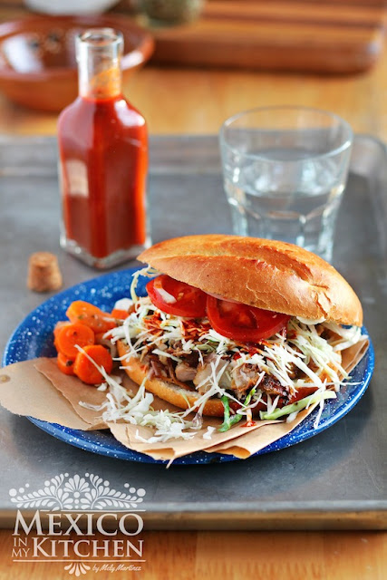 Mexican pork carnitas torta
