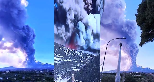 Una gran humareda exhalada por el volcán Etna se eleva sobre la ciudad italiana de Catania, el 24 de diciembre de 2018