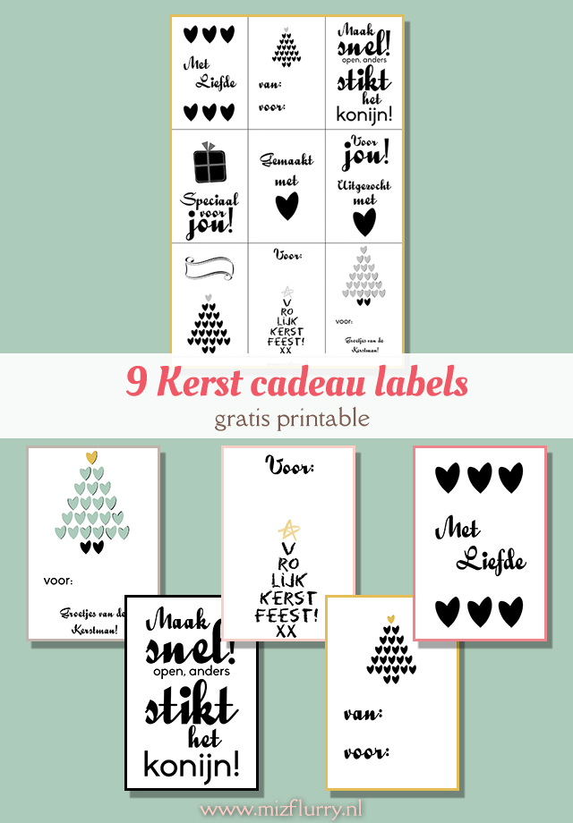 9 cadeau labels Kerst. Gratis te downloaden.