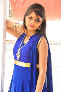Actress Harisha Krishna Stills in Beautiful Blue Chudiddar  0032.jpg