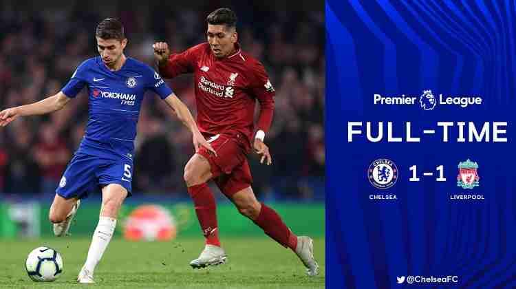 Hasil Chelsea vs Liverpool Skor Akhir 1-1