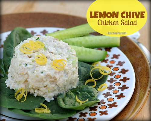 Lemon Chive Chicken Salad ♥ KitchenParade.com, chicken breasts gently poached in lemon water then mixed with delicious low-cal mayo-yogurt sauce. Low Carb. High Protein. Gluten Free. Weight Watchers Friendly.