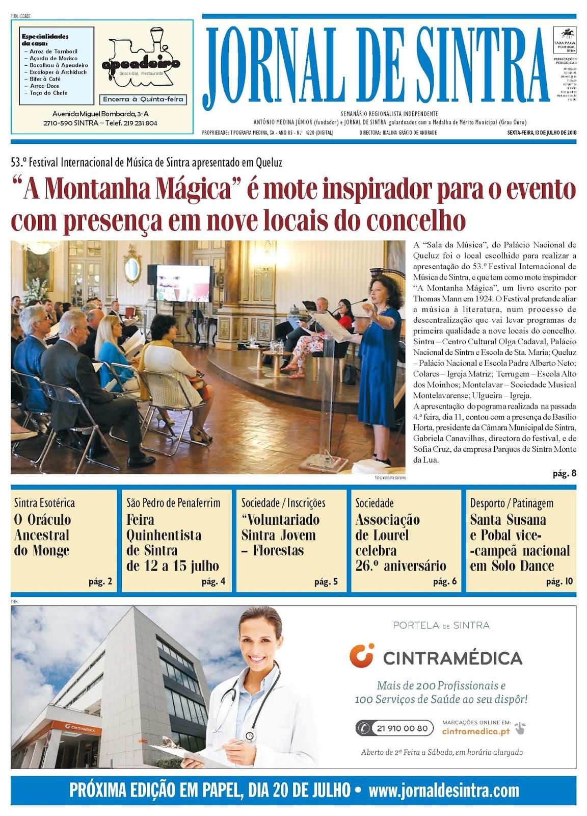 Capa da edição de 13-07-2018