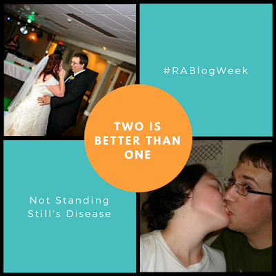 "4 panel pic with an orange circle over where the corners meet with white text ""two is better than one"" - left-right, top-bottom: 1) pic of K and T on their wedding day dancing while K laughs; 2) blue background with white text ""#RABlogWeek"" 3) blue background with white text ""Not Standing Still's Disease""; 4) first K+T kissing pic"