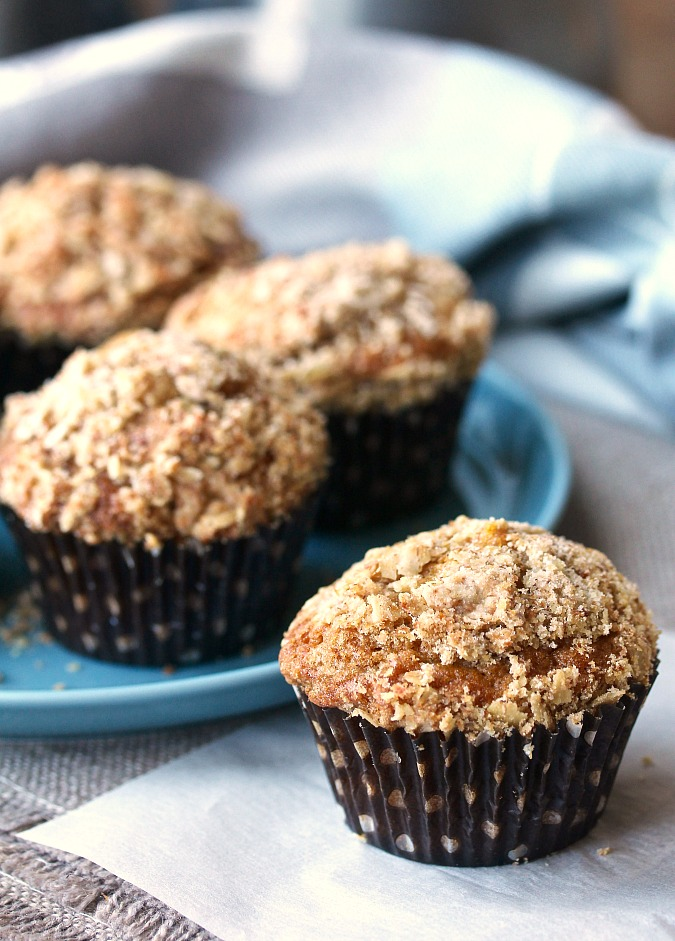 Bouchon Bakery Style Carrot Muffins on a blue plate