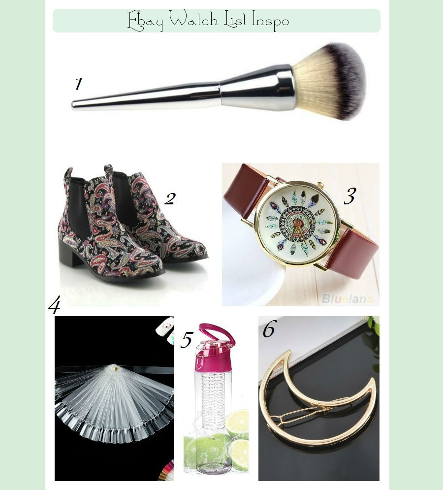 Ebay Watch List Inspo, Ebay Basket Inspiration, Blogger Buys, What's hot with bloggers, Beauty Blog, Bargain beauty brushes, water infusion bottle