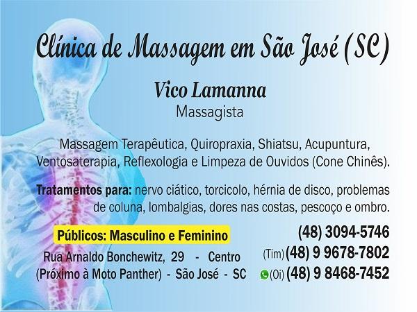Vico Massagista em São José SC (48) 3094-5746 Massagem Massoterapia Quiropraxia Acupuntura