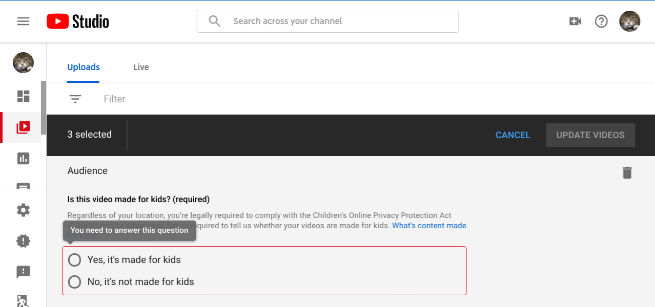 How To Indicate Your Youtube Channel Or Videos Are Made For Kids