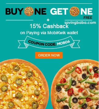 Dominos Medium & Large Pizzas Buy one Get one Free + Extra upto 15% Cashback