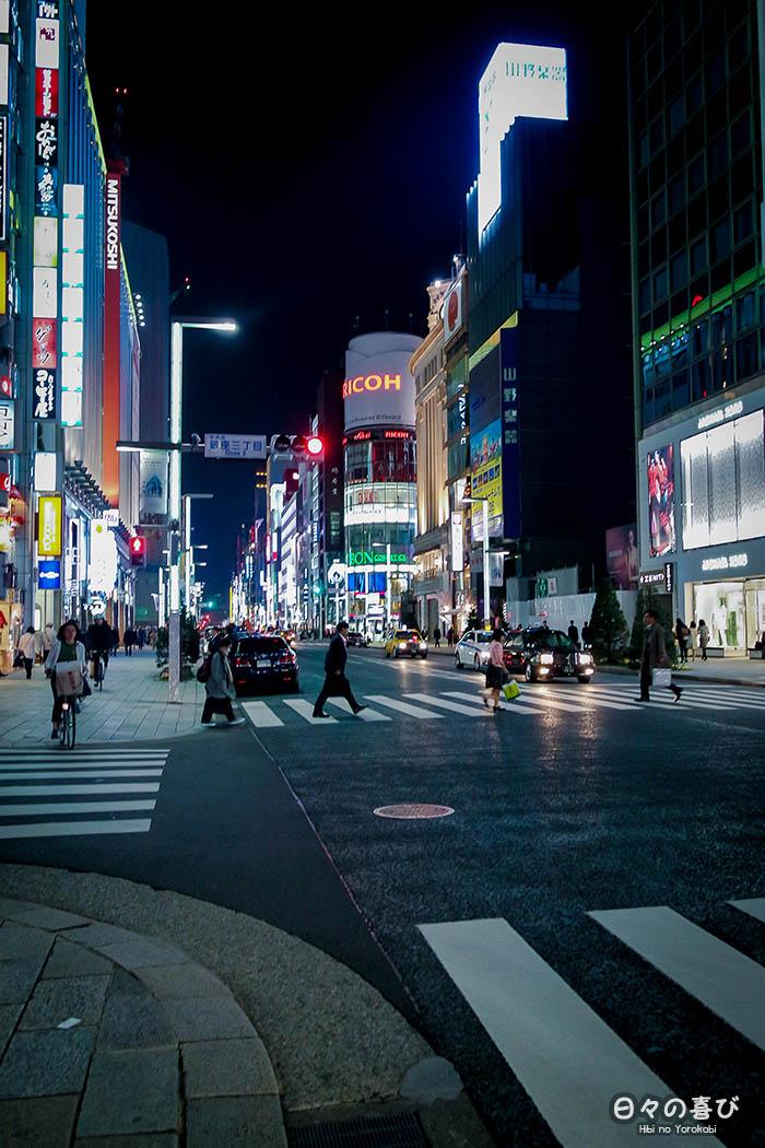 rue-commerçante-ginza-nocturne