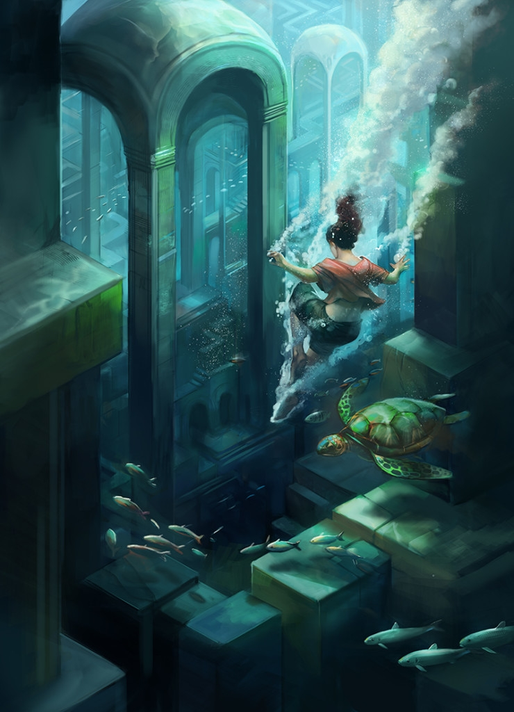 11-Submerged-City-Architecture-Julie-Dillon-Fantasy-Worlds-Explored-with-Digital-Art-Drawings-www-designstack-co