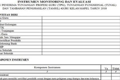 Instrumen Monitoring dan Evaluasi Guru Tahun 2018