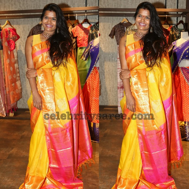 Shashi Vangapalli Yellow Silk Saree