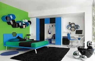 Cuarto azul y verde