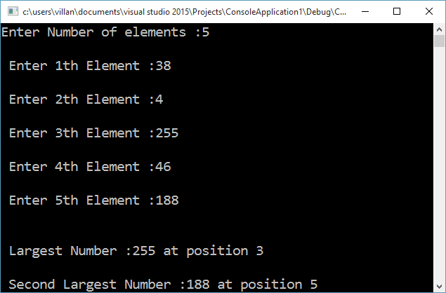 Output of program to find the largest and second largest number present in an array