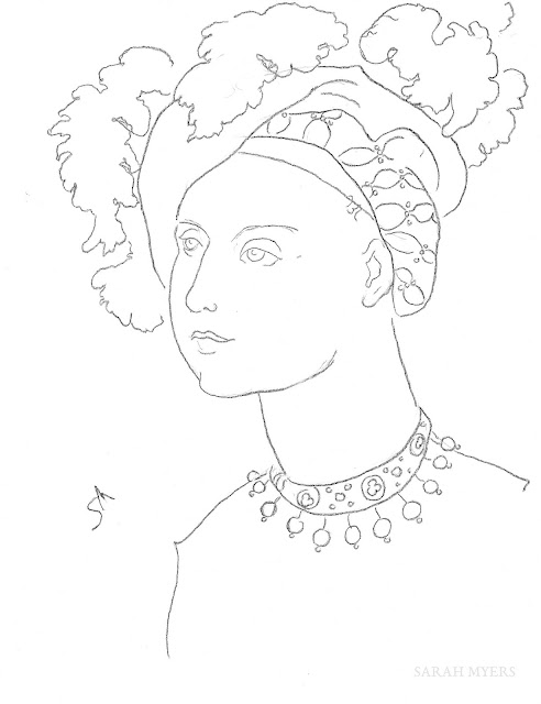 art, arte, drawing, sketch, woman, sarah, myers, minimal, line, dibujo, kunst, simple, renaissance, hat, plumes, jewels, jewellery, necklace, pearls, sombrero, velvet, fashion, lady, minimalism, portrait, charcoal, contemporary, modern, face, head