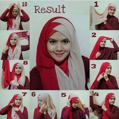 Tutorial Hijab 2 Warna yang Cocok dengan Kebaya Tradisional dan untuk Wisuda