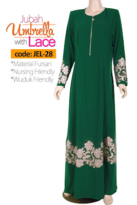 Jubah Umbrella Lace JEL-28 Green Depan 3