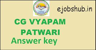CG Vyapam Patwari Answer key