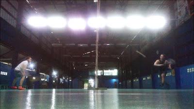 Badminton in action