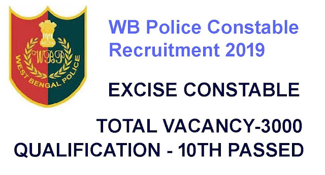 WB Police Excise Contable Recruitment 2019, West Bengal Police Constable Recruitment 2019