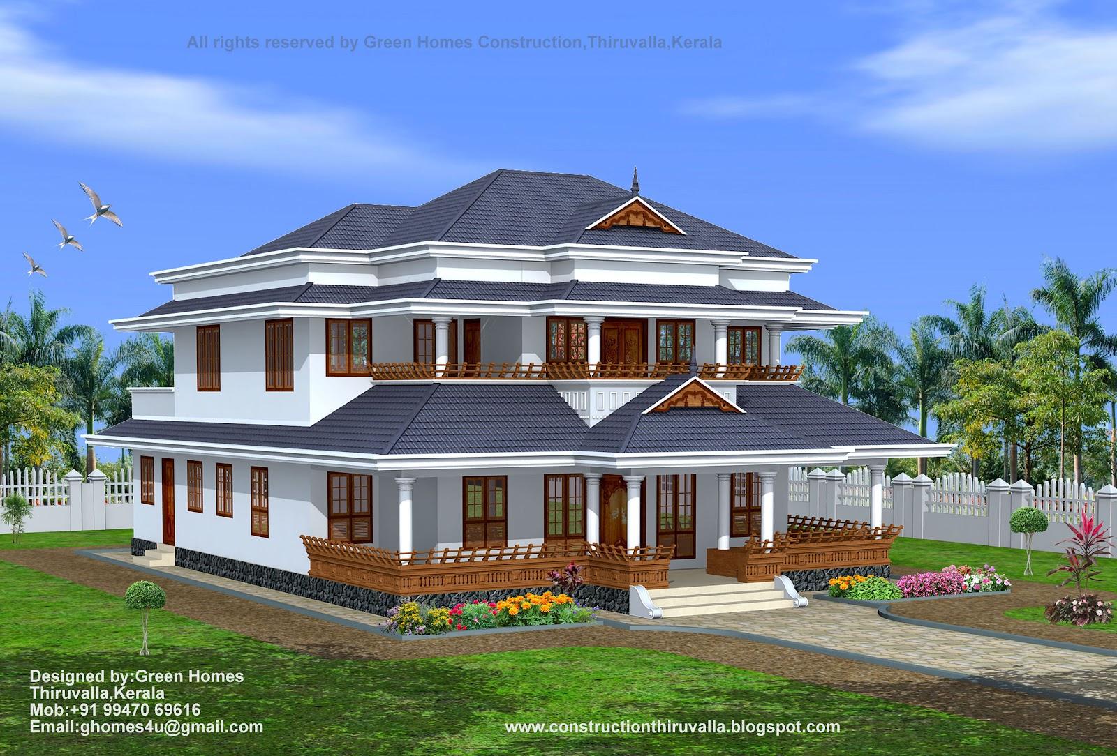 Green Homes: Traditional Style Kerala Home Design-3450 Sq.Feet