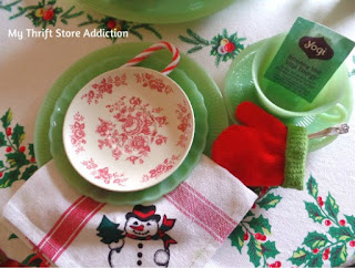 Vintage jadeite snowman tea party