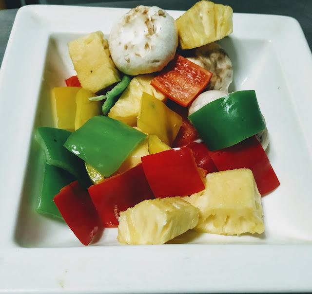 Mushrooms bell peppers pineapple cubes for chicken Hawaiian kebabs kabobs recipe