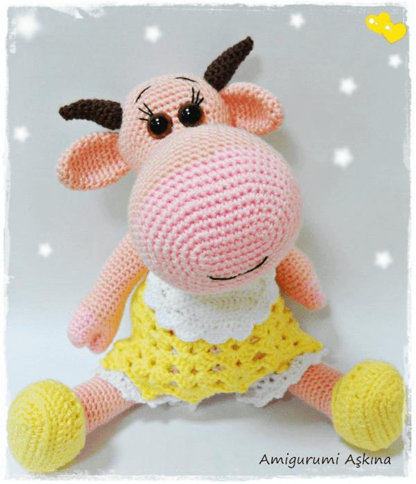 Yaseminkale: örgü oyuncak inek, amigurumi cow | 698x600