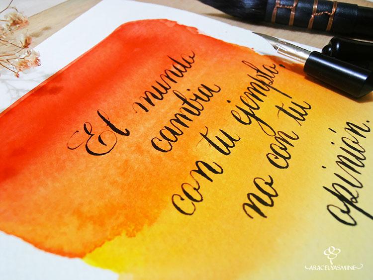 caligrafia y degradado en acuarela frases