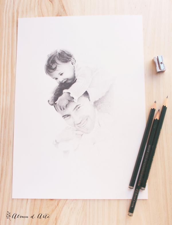 Retrato a lápiz dibujado a mano