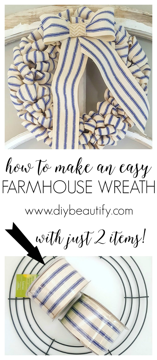 How to make a 30-minute farmhouse wreath for under $10! | diy beautify